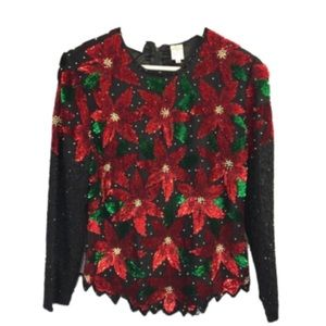 Vintage scala poinsettia sequin holiday blouse